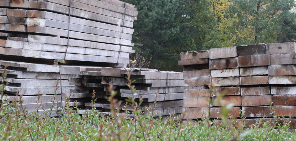 reclaimed wood stack